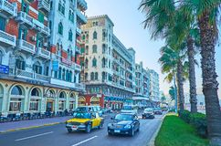 Calles de Alexandría, Egipto Imágenes de archivo libres de regalías
