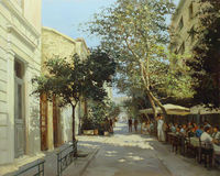 Calles de Atenas, Grecia, pinturas hechas a mano Imagen de archivo
