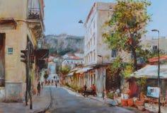 Calles de Atenas, Grecia, pinturas hechas a mano Fotos de archivo libres de regalías