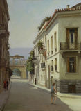 Calles de Atenas, Grecia, pinturas hechas a mano Fotos de archivo