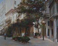 Calles de Atenas, Grecia, pinturas hechas a mano Imagen de archivo libre de regalías