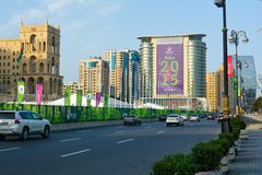 Calles de Baku, 1ros juegos europeos en Baku Imagen de archivo