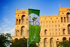 Calles de Baku, 1ros juegos europeos en Baku, cartel Foto de archivo