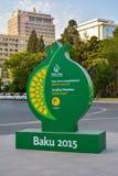Calles de Baku, 1ros juegos europeos en Baku, cartel en la calle Foto de archivo libre de regalías