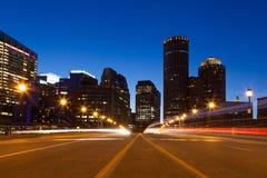 Calles de Boston por noche imagenes de archivo