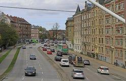 Calles de la ciudad de Copenhague, vista panorámica del distrito de Norrebro Foto de archivo libre de regalías