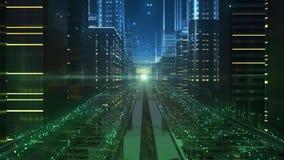 Calles de la ciudad del futuro electrónico libre illustration