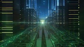 Calles de la ciudad del futuro electrónico stock de ilustración