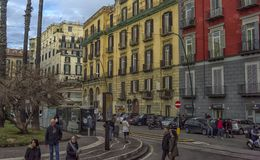 Calles de la ciudad en el centro de ciudad Imágenes de archivo libres de regalías