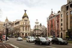 Calles de la ciudad en Madrid Fotos de archivo libres de regalías