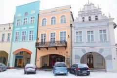 Cuadrado de la ciudad de Gniew en paisaje del invierno Foto de archivo libre de regalías