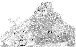 Calles de la ciudad de Kuwait, mapa de la ciudad, capital, Kuwait stock de ilustración