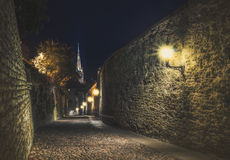 Calles de la ciudad superior vieja de Tallinn en la noche Tallinn, Estonia Imagen de archivo libre de regalías