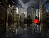 Calles de la inundación de Chicago Foto de archivo libre de regalías