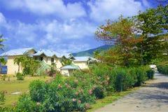 Calles de la isla de Tortola, el Caribe foto de archivo