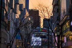 Calles de Myeong-Dong fotos de archivo libres de regalías