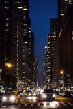 Calles de New York City en la noche Fotografía de archivo libre de regalías