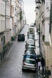 Calles de París en la lluvia Imagenes de archivo