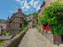 Calles de piedra estrechas en Conques Fotografía de archivo