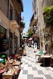 Calles de Taormina Imagenes de archivo