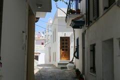 Calles del ` de Skopelos Imagen de archivo