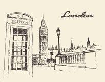 Calles en el autobús Big Ben de Londres Inglaterra dibujadas ilustración del vector