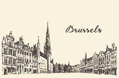 Calles en el bosquejo dibujado grabado vector de Bruselas Fotos de archivo