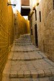 Calles estrechas de Jaffa viejo. Foto de archivo