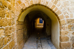 Calles estrechas de Jaffa viejo. Imagen de archivo