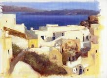 Calles estrechas y pequeñas casas en Santorini 3 Foto de archivo libre de regalías