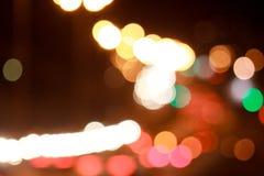 Calles hermosas de las luces con efecto del bokeh Fotos de archivo