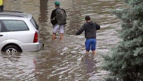 Calles inundadas almacen de metraje de vídeo