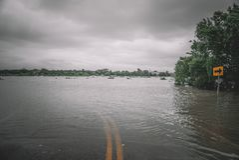 Calles inundadas durante el huracán Harvey Imagenes de archivo