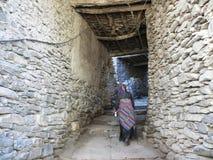 Calles medievales en Kagbeni, Nepal Imagen de archivo