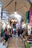 Calles silenciosas en la ciudad vieja de Jerusalén, Israel Mercado en la calle de la ha Gai del taco del EL imagen de archivo libre de regalías