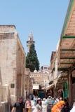 Calles silenciosas en la ciudad vieja de Jerusalén, Israel Mercado en la calle del ` im de Shuk ha Tsaba foto de archivo