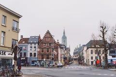 Calles vacías de Gante en Bélgica Fotografía de archivo libre de regalías