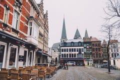 Calles vacías de Gante en Bélgica Foto de archivo libre de regalías