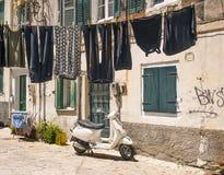 Calles viejas, ciudad de Corfú Fotos de archivo