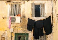 Calles viejas, ciudad de Corfú Imágenes de archivo libres de regalías