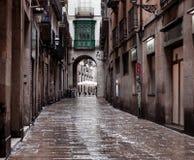 Calles viejas del barrio hispano Gotico Fotografía de archivo