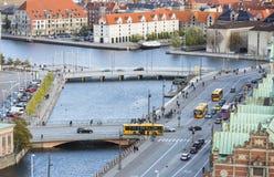 Calles y canales en Copenhague, Dinamarca, editorial Fotografía de archivo libre de regalías