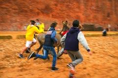 Calliano (Asti), the donkeys race. Color image Royalty Free Stock Photography