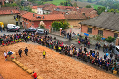 Calliano (Asti), the donkeys race. Color image Royalty Free Stock Images