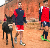 Calliano (Asti), the donkeys race. Color image royalty free stock photos