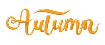 Calligrafia con l'autunno di parola Iscrizione disegnata a mano nello stile 3d Illustrazione di vettore, isolata Immagine Stock