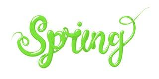 Calligrafia con la primavera di parola Iscrizione disegnata a mano nello stile 3d Illustrazione di vettore, isolata Fotografia Stock