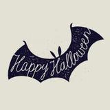 Calligrafia del segno del pipistrello di Halloween Fotografie Stock Libere da Diritti