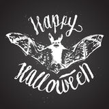 Calligrafia del segno di Halloween iscrizione spaventosa del pipistrello Fotografie Stock