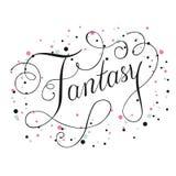 Calligrafia del testo di fantasia con il vettore degli elementi della decorazione Immagini Stock